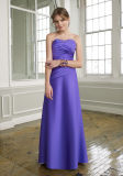 Long Purple Strapless Bridesmaid Gowns (BD3016)