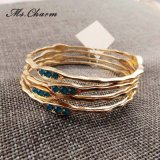 5 Colors Rhinestone Silver/Gold Plated Bracelets Bangle Set