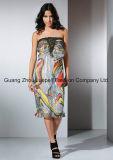 OEM Fashion Ladies Dress Chifon Metal Accessory Abstract Print Strapless Women Dress