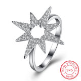 925 Sterling Silver Flower Shape Zircon Ring Jewelry Design for Women