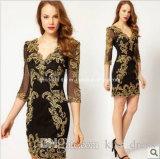 Short Mother′s Gowns Sheath Applique Black New Evening Dresses Z7047