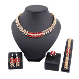 Hot Selling Europe Diamond Necklace Earring Leaves Design Jewelry Set