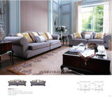 Fabric Sofa with Wooden Sofa Frame and Side Table