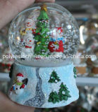 Polyresin Christmas Snow Globe with Christmas Tree and Snowman Inside