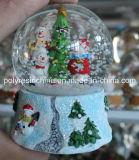 Polyresin Christmas Snow Globe with Christmas Tree and Snowman Inside