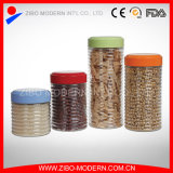 Wholesale Round Customized Storage Glass Jar with Colored Metal Lid