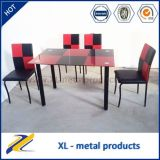 2016 Fashion 4/6 Seaters Rectangular Colourful Glass Dining Table Set