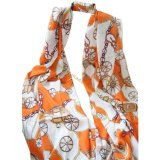 Lady Fashion Wheel Print Voile Long Scarf