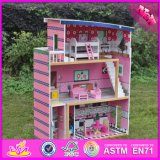 2016 Wholesale Home Play Wooden Big Doll House, Lovely Kids Wooden Big Doll House, Best Children Wooden Big Doll House W06A214