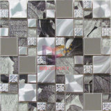 Leaf Pattern Crystal Mix Metal Mosaic (CFM858)