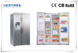 Stainless Steel Double Glass Doors Side-by-Side Display Vertical Refrigerator