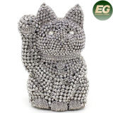 Handmade Cats Shape Silver Crystal Evening Bags Designer Handbags Manufactory Leb745