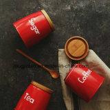 Enamel Tableware Enamel Pot Sugar/Coffee/Tea Can with Wooden Cover