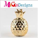 Gold Plating Ceramic Decoration Pineapple Shaped Money Bank