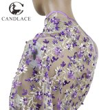 Purple Lace Fabric Embroidery Stone for Lady Dress
