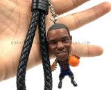 Custom PVC 3D Football NBA Player Keyring Key Ring Chain