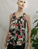 2017 Wholesale Woman Blouse Designs Sleeveless V Neck Blouses Printing Chiffon Lady Blouse & Top