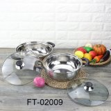Stainless Steel Hot Pot with Glass Lid (FT-02009)
