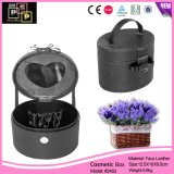 Black Lovely Small Cylindrical Faux Leather Cosmetic Box