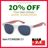 PC Frame with Bamboo Temples, Red Color Revo Lens Wooden Sunglasses in 2016