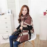 Lady Fashion Acrylic Woven Fringed Jacquard Shawl (YKY4434)