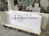 White Artificial Stone Quartz Bathroom Vanity Tops for Hotel/Commercial Project with Sinks