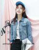 Fashion Women Tops Short Blue Denim Scratch Ripped Jacket
