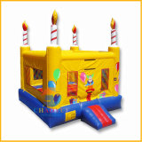 Yellow Birthday Cake Inflatable Bouncy Jumping Castle for Kids
