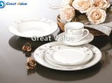 Simple Gold&Silver Design Custom Logo Porcelain Tableware Plate for Home Use