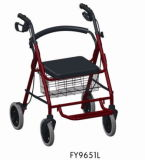 Aluminum Rollator with Seat and Wheels and Flip up Footrest