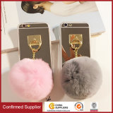 3D Fluff POM POM Phone Back Cover Case with Mirror for iPhone Case