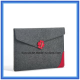 Customized Wool Felt Laptop Briefcase Bag, Promotion Envelope Shape Laptop Sleeve with Buckle Closing (wool content is 70%)