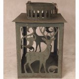 Antique Square Tin Metal Garden Home Lantern