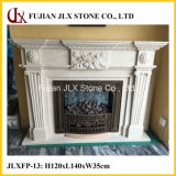 Stone Flower Carved Marble Fireplace Mantel