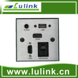 86 Type Aluminium Alloy Wall Plate/Faceplate with HDMI+USB+VGA+Audio+Network Cable/Connector