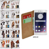 for Oppo R7 R9s R11 - Dog Portrait Print Flip Wallet Phone Case Cover
