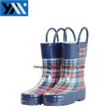 New Style Printing Kids Wellington Rain Boots with Handle
