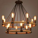 Countryside Style Woven Hemp Rope Iron Decorative Chandelier