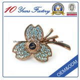 Rose Gold Flowers Metal 3D Badge Pin with Shining Stone