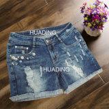 Summer Hot Sexy Hot Fashion Worn Women′s Shorts Denim Jeans (HDLJ0021)