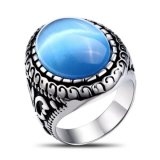 Jewelry Steel Ring with Big Turquoise Stone