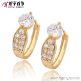 Xuping Elegant Gold-Plated Alloy Brass Imitation Fashion Jewelry Hoop Earring with Crystal 90732