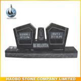 Black Granite Polished Headstone Double