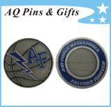Challenge Coin with Soft Enamel in Antique Silver