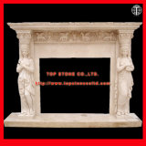 Electric/Stone/Granite/Marble Fireplace Surround/Fireplace Mantels with Stone Carving for Fireplace Decoration