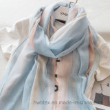 Soft China Supplier Woven Stripe Linen/Cotton Thin Scarf (HWBLC030)