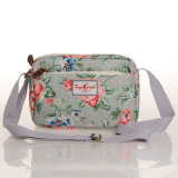 Grey Waterproof PVC Canvas Floral Patterns Handbag (99032-3)