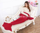 Customized Size 70% Orlon and 30% Cotton Fabric Cellular Mermaid Tail Blanket