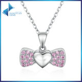 100% 925 Sterling Silver Sweet Heart Bowknot Pink Crystal Pendants Necklace