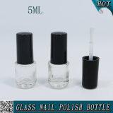 Mini Round 5ml Clear Glass Nail Polish Bottle with Brush